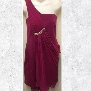 Marchesa Notte Fuchsia Goddess Style Silk Dress